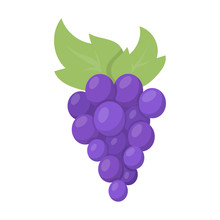 Grapes Icon Cartoon. Singe Fru...