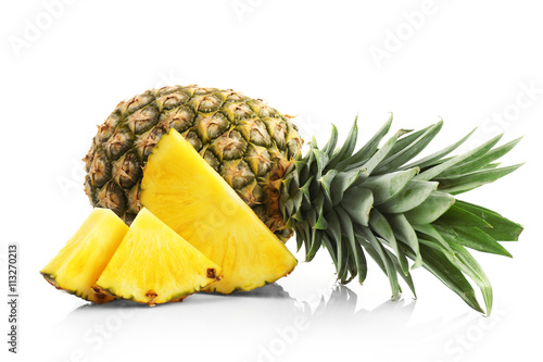 Sliced pineapple, isolated on white