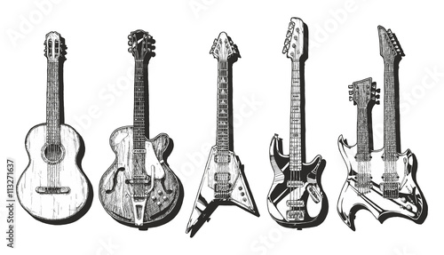Fotografia acoustic and electric guitars set