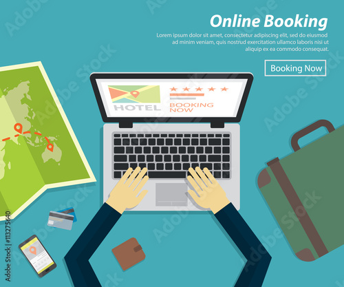 flat design of online booking hotel ,vector concept for holiday