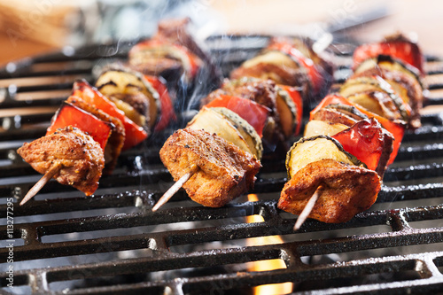 In de dag Grill / Barbecue Grilling shashlik on barbecue grill