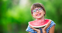 Child Eating Watermelon. Kids ...
