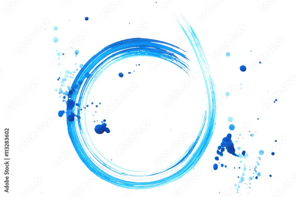 水色の丸と点 白背景