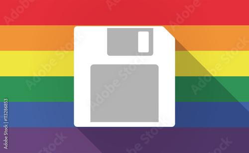 Fototapeta Long shadow Gay Pride flag with a floppy disk obraz na płótnie