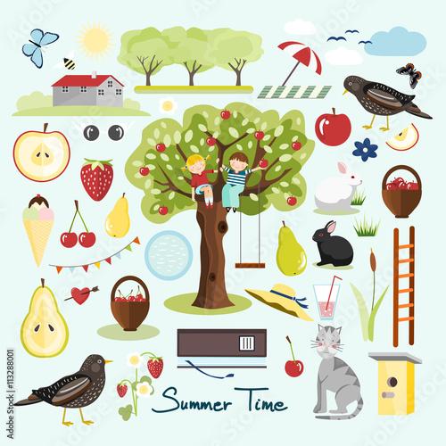 Deurstickers Magische wereld Summer garden elements, summer vector objects, flat design, vector illustration