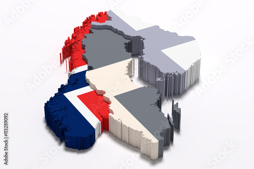 Photo  Silhouette of Norway map with flag