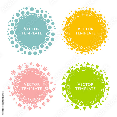 Multicolored round templates for text. Poster