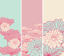 A Set Of Asian Style Floral Bookmarks With Lotus Flowers And Leaves In Pink, Ivory And Blue