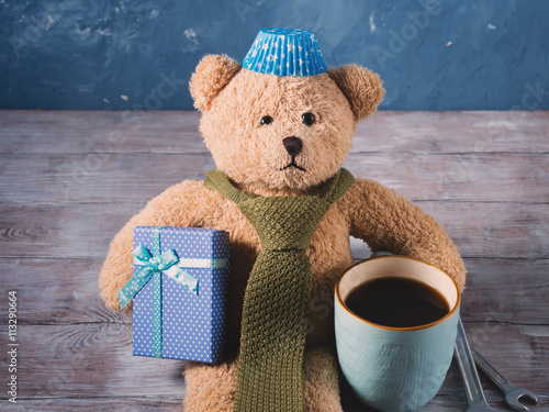 fototapeta na drzwi i meble Happy father's day concept background with teddy bear dad