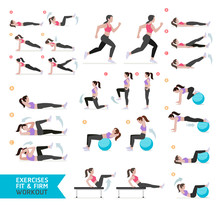 Woman Workout Fitness, Aerobic...