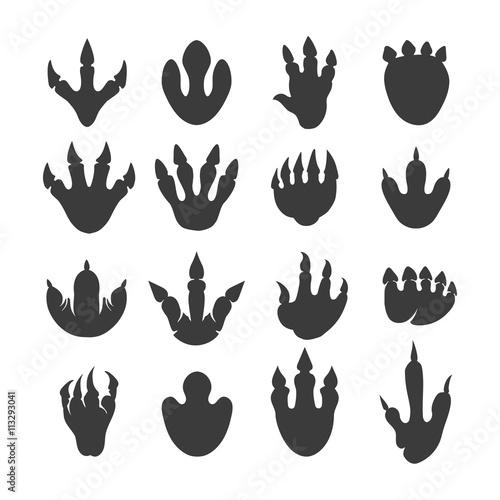 Photo Vector reptile footprints. Dinosaur tracks vector black icons