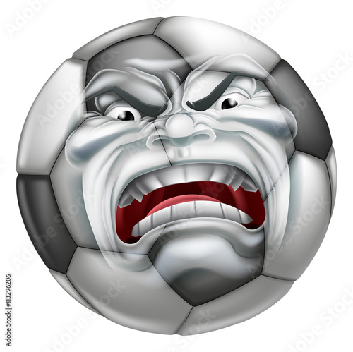 Photo  Angry Soccer Football Ball Sports Cartoon Mascot