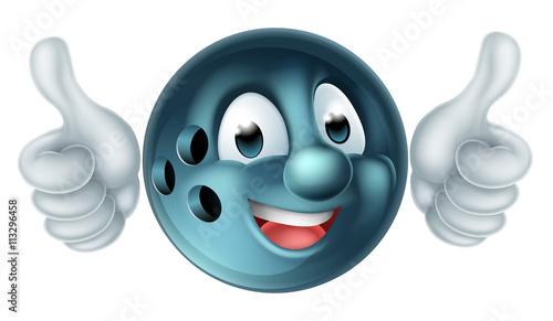 Photo  Cartoon Bowling Ball Character