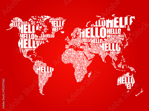 Hello word cloud world map in typography background concept buy hello word cloud world map in typography background concept gumiabroncs Gallery