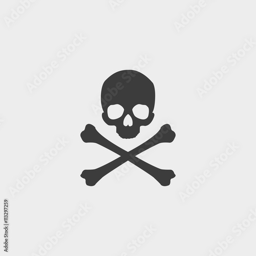 Skull and crossbones icon in a flat design in black color Poster