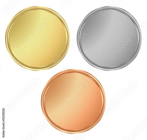 Fotografía  vector round empty textured gold silver bronze medals.  It can b
