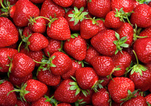Strawberry Background.  Red Ripe Organic Strawberries On Market