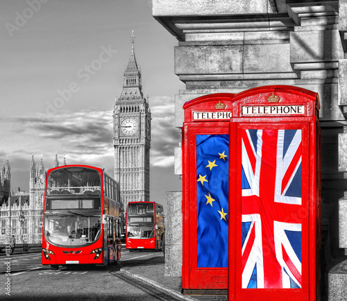 Fototapeta European Union and British Union flag on phone booths against Big Ben in London, England, UK, Stay or leave, Brexit