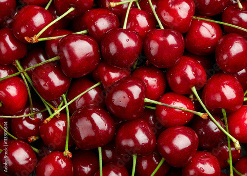 Cherry Background.  Sweet organic cherries Wallpaper Mural
