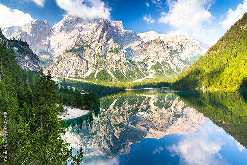 Foto auf Gartenposter Reflexion Lake Braies also known as Lago di Braies. The lake is surrounded by the mountains which are reflected in the water.1st point of the trekking route Alta Via 1, The Dolomites, Alps, South Tyrol, Italy.