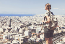 Traveler Woman Looking On A Big City, Travel And Active Lifestyle Concept
