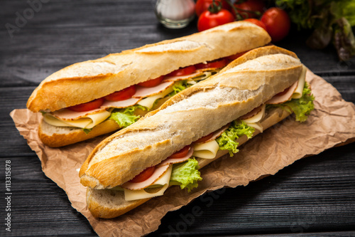 Spoed Foto op Canvas Snack Panini grilled sandwich