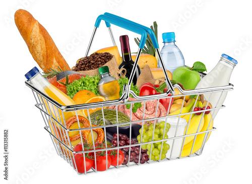 Montage in der Fensternische Sortiment shopping basket filled with fresh tasty food / Einkaufskorb gefüllt mit frischen leckeren Lebensmitteln