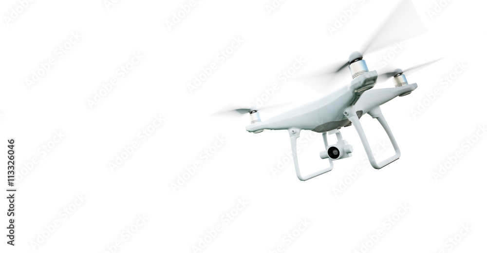 Fototapeta Picture Matte Generic Design Modern Remote Control Air Drone Flying with action camera. Isolated on Empty White Background. Horizontal . 3D rendering.