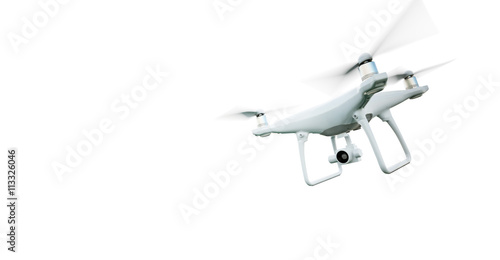 Fototapeta Picture Matte Generic Design Modern Remote Control Air Drone Flying with action camera. Isolated on Empty White Background. Horizontal . 3D rendering. obraz