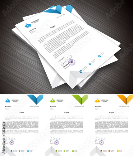 Fototapeta Letterhead.File contains text editable AI and PSD, EPS10,JPEG and free font link used in design. obraz
