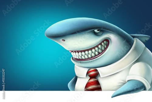Fotografija  Illustration of business shark smiles slyly