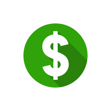 Dollar Symbol, Flat Design Sty...