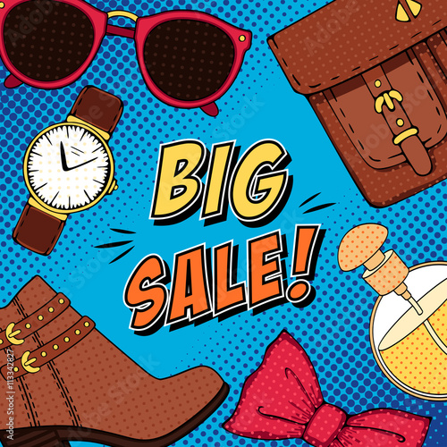 obraz PCV Comic fashion big sale pop art background