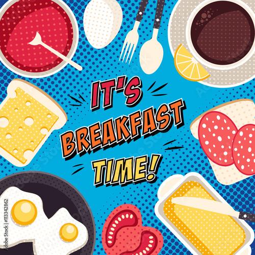 Plakat Komiksowa ilustracja pop artu z jedzeniem i napojami