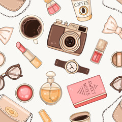 Tapeta Fashion seamless pattern with woman accessories and cosmetics