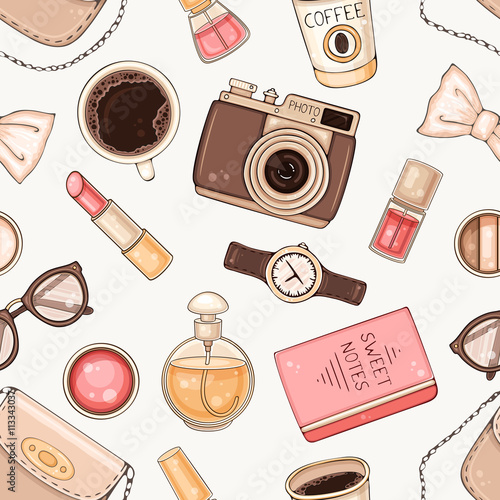 Cotton fabric Fashion seamless pattern with woman accessories and cosmetics