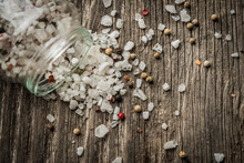 Whole Peppercorns And Crystal Sea Salt