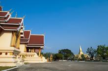 That Luang Stupa And Hor Dhammasapa, Landmark Of Vientiane, Lao