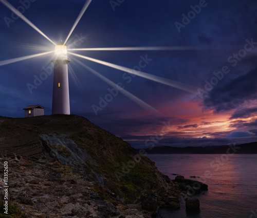Lighthouse at night Wall mural