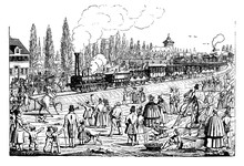 People Wave At Steam Train Passage At The Inauguration Of Nuernberg-Fuerth Dicember 1835