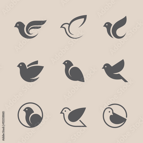 Black bird icons set Fotomurales