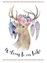 Watercolor Hand Drawn Deer.eth...