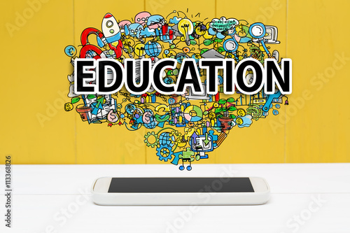 Education concept with smartphone Poster