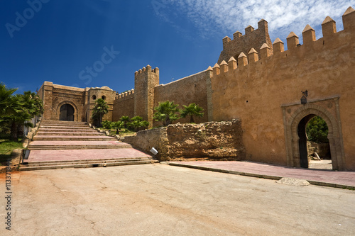 Poster Maroc Morocco. Rabat. The Kasbah des Oudaias - the south-west part of fortified wall with the Almohad gate Bab Oudaia