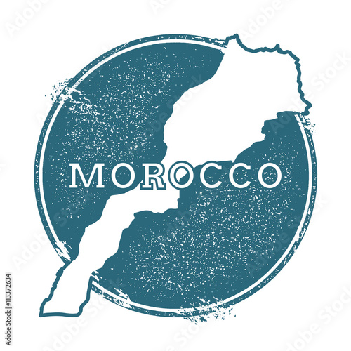 Grunge rubber stamp with name and map of Morocco, vector illustration Wallpaper Mural