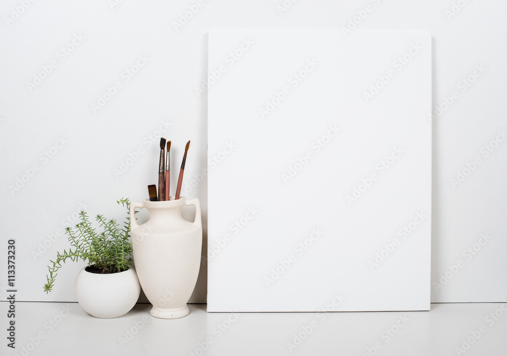 Fototapety, obrazy: Empty blank canvas on a white background, home interior decor