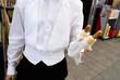 Man with hotdogs