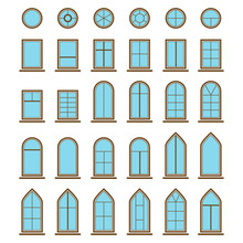 Set Of Different Icons Window And Windowpane Types