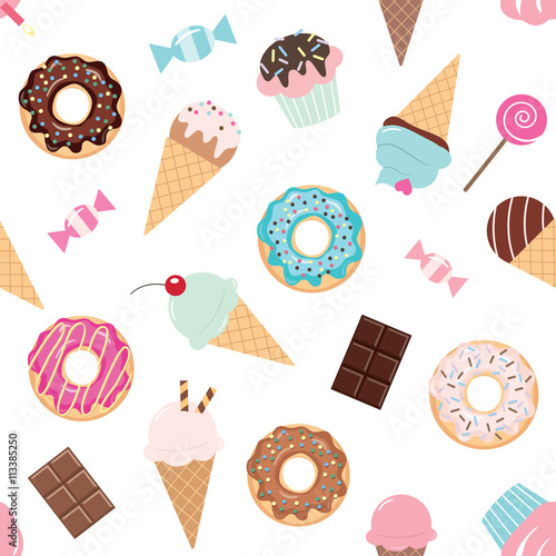 Cotton fabric Birthday seamless pattern with sweets - ice cream, donuts, cupcakes, candies.