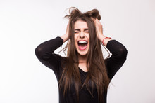 Scream Young Girl On White Background
